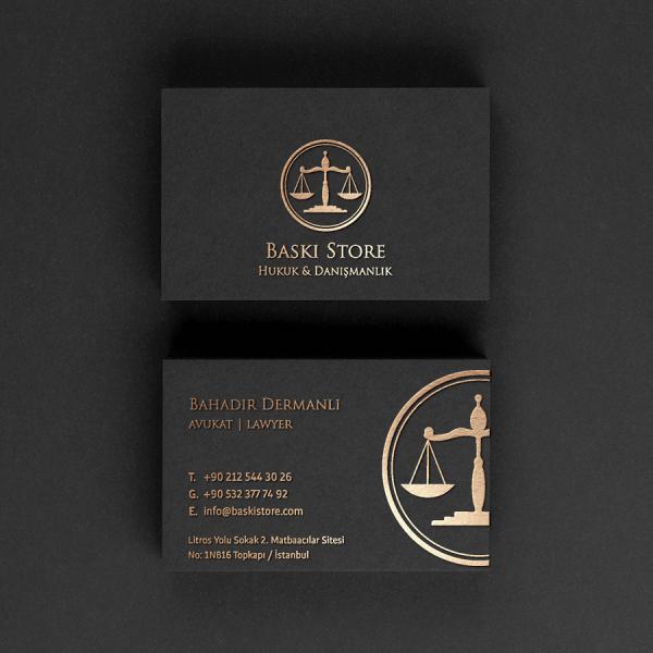 Altın Yaldızlı Siyah Avukat Kartvizit