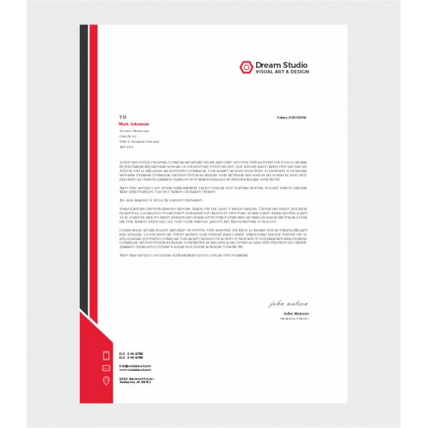 Kırmızı Siyah Antetli Kağıt 1001
